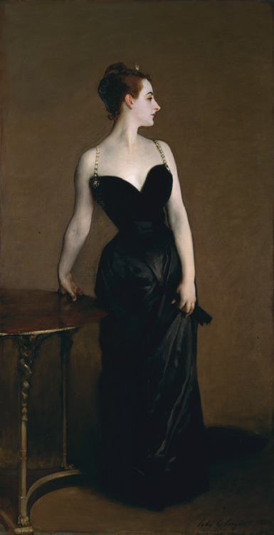 Madame X by John Singer Sargent 1883-84Oil on Canvas82 1/8 x 43 1/4 in.Metropolitan Museum of Art, New York CityI think she can speak for herself.
