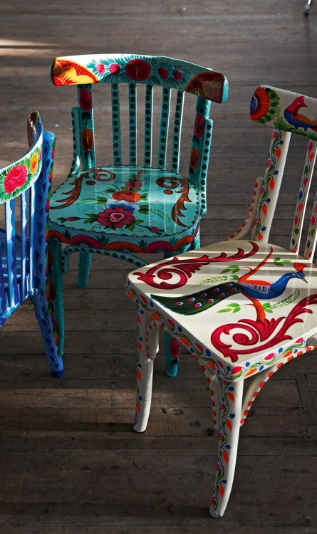 A little bit of boho.  Upcycled Indian chairs found at Plumo.