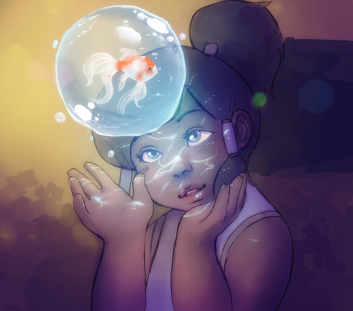 glasworks:  Young Korra, playing around, being fascinated and loving life.