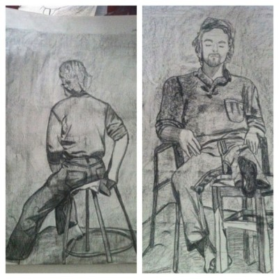 Day 20: Something you drew #art #charcoal #figure#picstitch (Taken with instagram)
