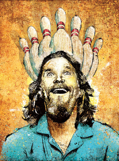 "eatsleepdraw:  The Big Lebowski's ""Enlightenment Through Bowling""Jeff Mitchell, 2011"