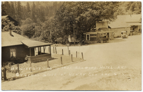 Bridgeville in 1925 showing hotel and general store of Henry Cox and Son. (1925). We learned a little history about the Cox family. Henry Cox purchased Bridgeville in 1909. Along with the grocery store, Mr. Cox also owned a blacksmith shop, the Bridgeville Hotel, the livery stable, and a number of residences. Amazingly, Bridgeville remained in the family until 1973.  From the California State Library's E.F. Mueller Postcard Collection