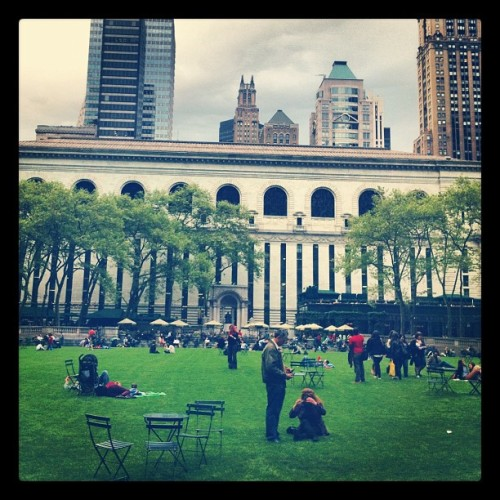 Bryant Park lawn opened today and A reading area along with books and newspapers to borrow are available for your park going pleasure.