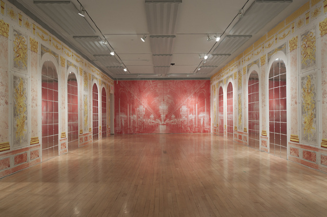 A screenprinted room installation simulating the Hall of Mirrors from the Palace of Versailles