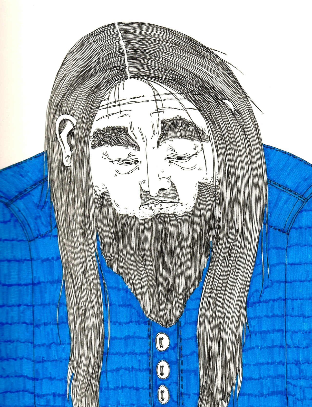 Another sad hairy guy. He has shoulders and a bit longer hair, just my current sketchbook is A/3, too large to the scanner. Does anybody have an A/3 scanner??