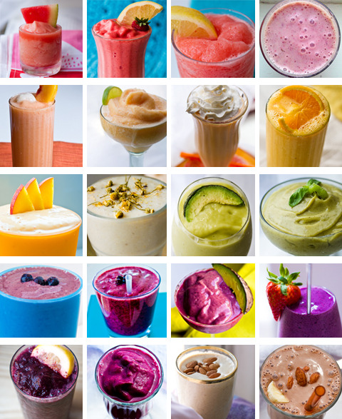 foodheavenshow:  loving the options! suckkitin:  20 Summer Smoothie RecipesWatermelon FrostyGrapefruit Pink SmoothieStrawberry Lemonade FrostyPinkie Sweet Pomegranate SmoothieCitrus FrostyPeaches and Cream SmoothieFresh Orange Juice SmoothiePeachy Hemp Protein SmoothiePeachy Lychee DaiquiriCalm Chamomile SmoothiePina Avocado SmoothieKiwi Basil SmoothieBlue Acai SmoothieBlueberry Kickstart SmoothieBerry-Cado SmoothieStrawberry Banana SmoothieBlueberry Coconut Water FrostyDark and Frosty Acai SmoothieAlmond Butter ShakeChocolate Chai Shake