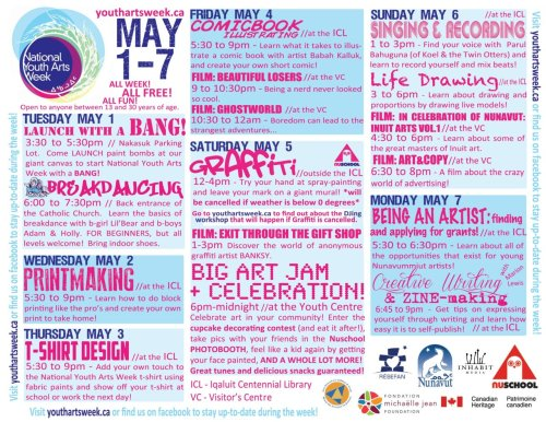 Schedule of events in Iqaluit, Nunavut! The week is looking awesome!!!