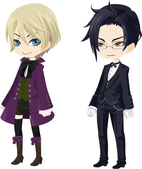 YOU AND YOUR FRIENDS CAN BE ALOIS OR CLAUDE. Just head on over to TinierMe. TinierMe is a free to join, fun virtual world based on Japanese anime and culture. With users around the world, the site lets you build a tinier version of yourself known as a Selfy so you can chat, play and create online.  Think of all the maniacal fun you and your friends could have with these!