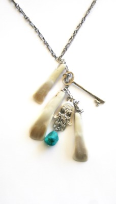 "Hand created, bison tooth charm long necklace finished off with a small, turquoise stone ♥ www.SideshowByTheSea.comcode ""freeship"" !! ♥"