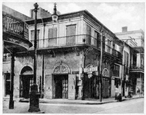 The Old Abinthe House on Bourbon Street, in the French Quarter of New Orleans, Louisiana,  circa 1920's.