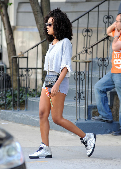 Solange Knowles adidas Jeremy Js Wings Metallic Silver Sneakers