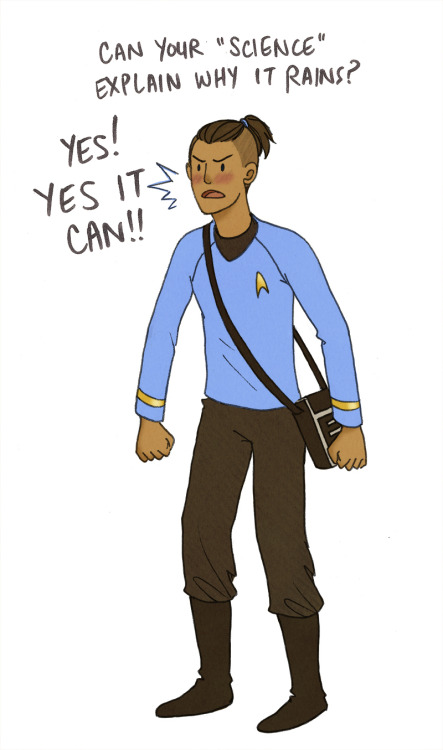 lamamama:  airandangels wanted me to draw Sokka in a Starfleet uniform Complete with tricorder purse!  SPOCK ANNND SOKKA?! … Spokka.