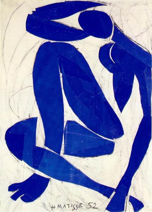 Matisse- Blue Nude (1952) Using paper cut-outs adhered to a mostly blank surface, Matisse worked with geometric shapes uniform in color and brightness to create this striking nude. According to him, color was given to us in order to express our own emotions, which is why these shades of blue emanate whatever the individual wants them to. This piece belongs to the Fauvism movement, which only lasted about 5 years.