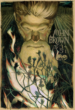 John Brown poster for the Lyric Opera of Kansas City with art director Kevin Brimmer. Brown likened himself to Moses and wanted to liberate the slaves from their Southern slave owners. In Moses to the burning bush, I paralleled Brown to the burning cotton bush.