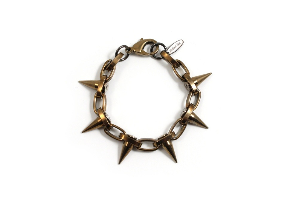 Titanium Chic Chain Bracelet w/Single Row Spikes - Pyrite