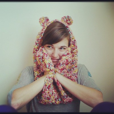 "Teddy Bear Scarf with Paws. In Bubble Gum. By CUExperiments (Currently 20% off with Coupon Code ""KANGOO"") Twitter - Tumblr - Etsy - Facebook"