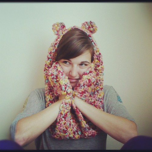 "lovelyetsy:  Teddy Bear Scarf with Paws. In Bubble Gum. By CUExperiments (Currently 20% off with Coupon Code ""KANGOO"") Twitter - Tumblr - Etsy - Facebook"