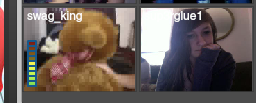On the tiny chat I was next to ricky… So I was like I'll get a picture just for kicks… He held up a teddy bear right when I took it xD