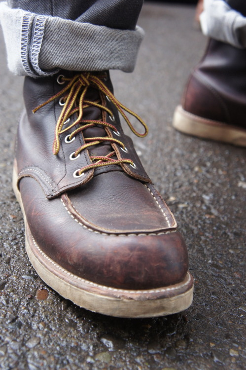 Red wing 8138 boots, casually wearing.
