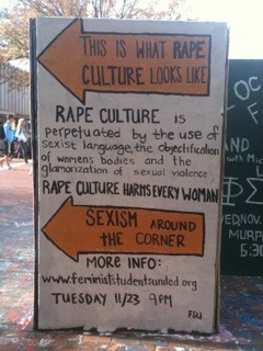 ///////TRIGGER WARNING///////////  Rape culture is treating rape as a compliment, as the unbridled passion stirred in a healthy man by a beautiful woman, making irresistible the urge to rip open her bodice or slam her against a wall, or a wrought-iron fence, or a car hood, or pull her by her hair, or shove her onto a bed, or any one of a million other images of fight-fucking in movies and television shows and on the covers of romance novels that convey violent urges are inextricably linked with (straight) sexuality.(click the picture to read more)(plz reblog)