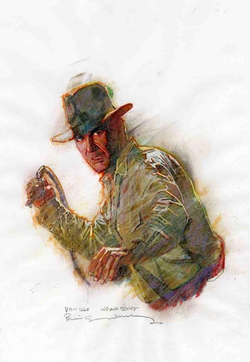 I'm like a bad penny, I always turn up. Indiana Jones illustrated by Bill Sienkiewicz :: via comicartfans.com