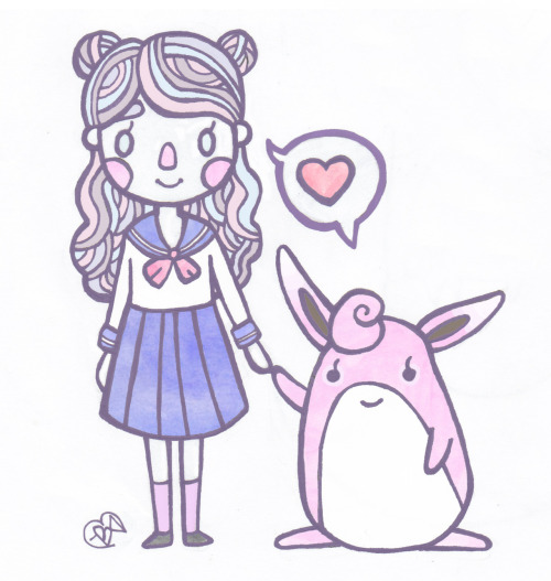 Just felt like drawing a schoolgirl and her wigglytuff.