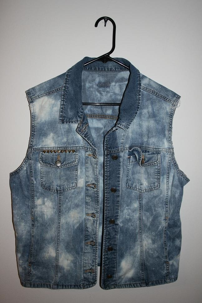 DIY acid wash and studded denim vest.
