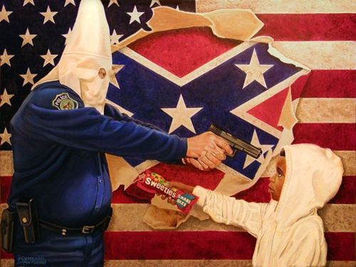 iwakeupblack:  magnolius:  A Tale Of Two Hoodies - a controversial painting by artist/activist Michael D'Antuono.  couple technical things but you get the point