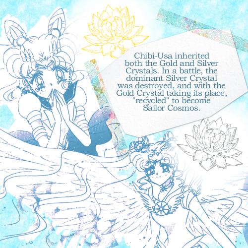 "This headcanon elaborates on two ideas; Chibi-Usa's problem with aging + power, and the ever-elusive Sailor Cosmos.Chibi-Usa was born with control over both the Silver and Golden Crystals. The reason she was permanently stunted and weak was because her body needed to choose which Crystal to ""inherit"" before she could progress to puberty, and was in a stalemate trying to choose which one. When Chibi-Usa chose the Silver Crystal for herself, she started to age, and the Golden Crystal became dormant inside her.However, in the distant future, beyond Crystal Tokyo when she has become the new Queen and Sailor Moon, a villain much like Galaxia appears and takes her Silver Crystal. It is destroyed and sent to the Galaxy Cauldron to repair and be reborn.Normally Chibi-Usa would die in such a situation. But because she had two Star Seeds, the Golden Crystal shifted forward into the dominant position, replacing the Silver Crystal.But the Silver Crystal still went to the Galaxy Cauldron and still needed to be reborn. With its original host living, essentially, with a replacement Star Seed, it had nowhere to go, and so drifted off into the ether; to the distant future? To an alternate universe? That's uncertain. But being so powerful it eventually gained a human form, similar to the Crystal's original host - Queen Serenity - and with only a vague personality that was a diluted shadow of hers.Sailor Cosmos is not a person. She is the personification of the Silver Crystal, and that is why she returned to that past; not because of Usagi, but her Crystal.Meeting Usagi gave her humanity.  This clears up a lot of questions I had wondered ^_^"