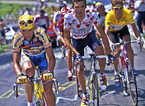 Pantani, Virenque, and Ullrich. Also, Virenque's shoes—Le Ballér. - '97 Tour