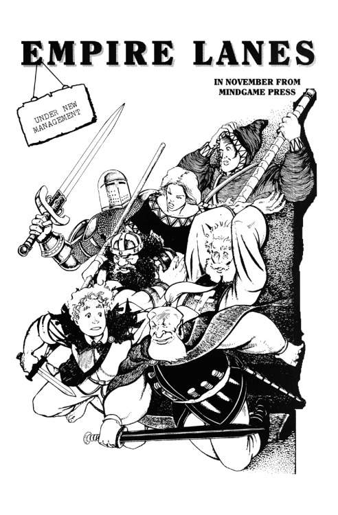 Promotional ad for the unpublished Mindgame Press series of Empire Lanes by Peter Gross, 1990.