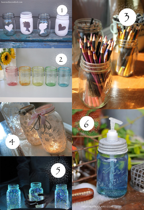 DIY Mason Jar Crafts 1. Silhouette Mason Jars 2. Tinted Mason Jars 4. Doily Mason Jars 5. Glowing Firefly Jars 6. Mason Jar Soap Dispenser