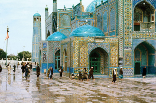 The Blue Mosque of Afghanistan on a rainy day