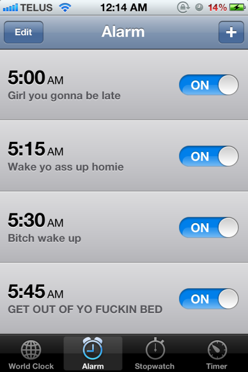 zoidskee:  josee66:  Drunk me set some alarms for tomorrow  youre so gangsta talkin when you drink. we should drink sometime. :p  HAHAHA holy shit I totally forgot about this! Sadly, none of them worked and I ended up waking up at 6:25 and needed to be out of the house by 6:30.  Im always down with a little drinkage ;)  I even have some more of your bestie, Southern Comfort :D