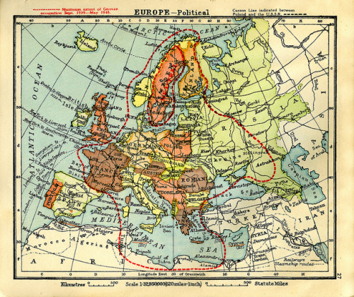 paulbeige: Collin's Australian Clear School Atlas. Map of Europe with extent of German WWII occupation. Published 1940. Overprinted 1945. 190 x 220mm.