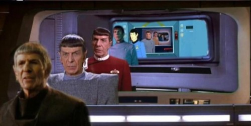 "archiemcphee:  George Takei recently shared this awesome image of ""Spock Through Time"". We love it! [via Nerd Approved]"