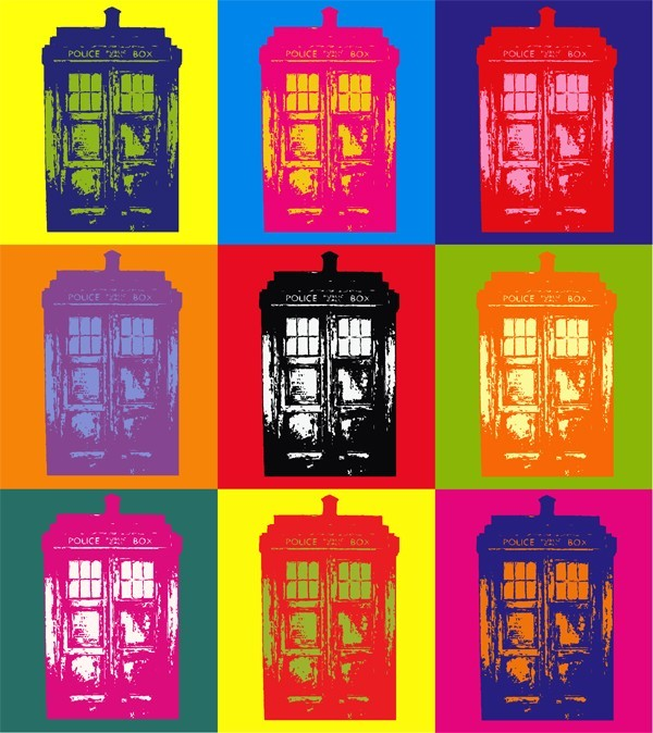 Doctor Warhol you have a call on line one. This is our TARDIS pop art design. It's available as both a tee shirt and a print, and I must say, it looks FANTASTIC as both. Pick one up for just $14.99.