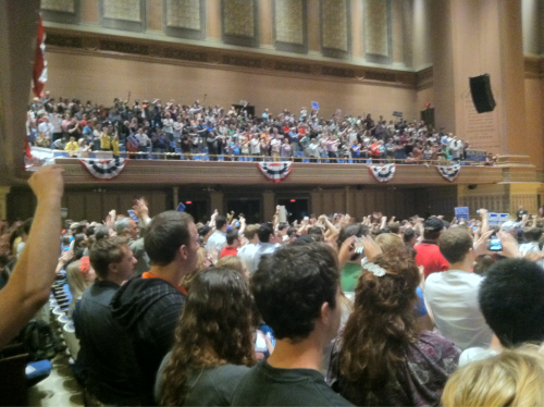 Capacity crowd at the Ron Paul Town Hall at the University of Pittsburgh.