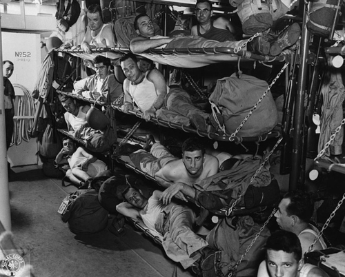 Living on a US Navy ship, sometime in 1943.