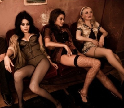 suicideblonde:  Vanessa Hudgens, Jamie Chung and Emily Browning during the filming of Sucker Punch