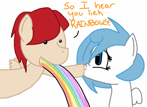 ask-frigiddrift:   So I herd you liek rainbowz!? -By http://doublethedinos.tumblr.com/  It… it's true~  *Squee*