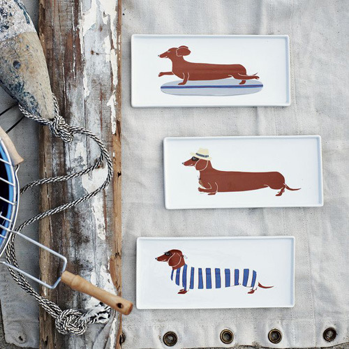 CLAUDIA PEARSON DOG PLATES FOR WEST ELM