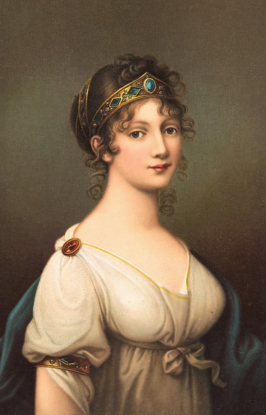 "fuckyeahhistorycrushes:  Duchess Louise of Mecklenburg-Strelitz was born on March 10, 1776 in Hanover, Germany, the daughter of Prince Charles of Mecklenburg-Strelitz. Early in 1792, when Louise was 16, her uncle, hoping to strengthen the ties between his family and the Prussian royal family, carefully plotted a meeting between Louise and Crown Prince Frederick William III. The plan worked, and they married. The Prince became King when his father died in 1797 and Louisa became Queen of Prussia. The nation was charmed by the young Queen's grace, beauty, and wit.  Historians have commented that Queen Louise was Prussian nationalism personified. In 1804, with Napoleon's increasing violations of Prussian treaty rights, Louise (formerly ignorant of foreign policy) began to argue with King Frederick over his long-standing position of neutrality, pleading with him to break off all relations with the French Emperor. She took the initiative of contacting the Tsar of Russia and Emperor of Austria, both of whom, along with Frederick, signed the Potsdam Treaty on November 3, 1805—a treaty which allied these three nations against Napoleon. Napoleon termed Louise ""My beautiful enemy"" for her role in forming this alliance. She tragically died young from an unknown disease at the age of 34. She also never had the opportunity to see Napoleon's defeat in 1815."