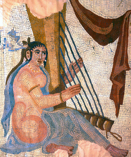 bossa:  A Sassanid era mosaic excavated at Bishapur. Some mosaics were denuded during the Islamic period. This one is kept at The National Museum of Iran.