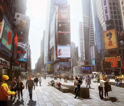 NY Mag: Countdown to a New Times Square This is sad news in my opinion…a DIY approach that created a vibrant, sense assaulting space that was also personalisable (if that is a word) with its moveable chairs, will be replaced with a sanitised, unimaginative, dull space with concrete slab paving, some steel detailing and massive black granite benches….  Starting next fall, workers with jackhammers will tear apart the bow tie, temporarily making it an even less congenial place to hang out. But one major goal of the $45 million construction project is to persuade New Yorkers to love Times Square—to convince them that it's not just a backdrop for a million daily snapshots but Manhattan's most central, and most convivial, gathering spot. Architects and visionaries have often addressed that old ambition with high-energy concepts that gave us the current high-tech razzmatazz. Even in this round of ideas, the city has fended off proposals for colored LEDs embedded in the pavement, for ramps, staircases, pavilions, digital information kiosks, heat lamps, trees, lawns, canopies, and, of course, more video screens. Instead, the city hired the architectural firm Snøhetta to produce a quiet, even minimal design that doesn't try vainly to compete with the glowing canyons. Its beauty lies in dark, heavy sobriety and a desire to be a lasting pedestal to the frenzied dazzle above. In the most straightforward sense, the new plan enshrines a transformation that has already taken place. Ever since vehicles were banned from Broadway between 42nd and 47th Streets, in 2009, Times Square has felt like a temporary art installation. Pedestrians have been able to step off the curb and into the weirdly motor-free street. Rickety red café tables, which replaced plastic beach chairs, dot a blue river painted on the asphalt. Streetlights, lampposts, mailboxes, hydrants, and pay phones remain clustered along the Broadway sidewalk, staying clear of nonexistent traffic. The new construction will eliminate that feeling of making do. Curbs will vanish. Pedestrian areas will be leveled and clad in tweedy concrete tiles that run lengthwise down Broadway and the Seventh Avenue sidewalks, meeting in an angled confluence of patterns. Nickel-size steel discs set into the pavement will catch the light and toss it back into the brilliant air. Instead of perching on metal chairs, loiterers will be able to sit, lean, sprawl, jump, and stand on ten massive black granite benches up to 50 feet long and five feet wide. Electrical and fiber-optic-cable outlets will be packed into the benches so that, for outdoor performances, special-event crews will no longer need to haul in noisy, diesel-burning generators or drape the square in cables and duct tape. Even on ordinary days, the square will be de-­cluttered of the traffic signs, bollards, cones, and boxes that cause foot traffic to seize up. With any luck, crowds will gather and mingle only in the center plain between the benches, leaving free-flowing channels on either side for the rest of us, who have somewhere to be, people!