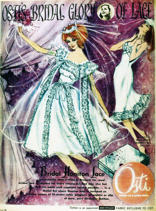 Osti's bridal glory of lace, 1960