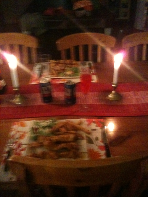 Our romantic meal that we ate whilst watching SpongeBob. We're awesome.