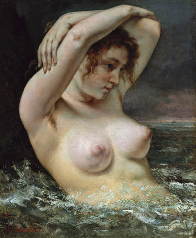 Gustave Courbet, Woman in the Waves, 1868 (New York, USA, The Metropolitan Museum of Art)  In Woman in the Waves, Courbet evokes the myth of Venus born of the sea, but slyly subverts the figure's pose, which derived from academic convention, by depicting the model's underarm hair—an element of realism underscored by the almost palpable quality of her flesh. — The Metropolitan Museum of Art
