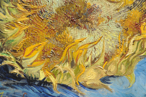 avengered:  Sunflowers (detail), Vincent van Gogh, 1887.