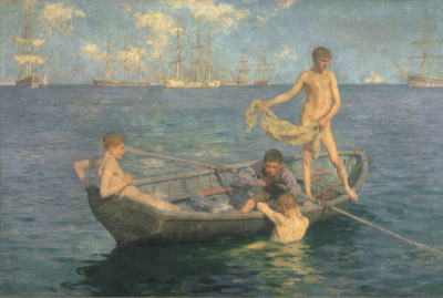 Henry Scott Tuke, August Blue, 1893-94 (London, England, Tate Gallery)  This is one of many pictures Tuke painted of young boys bathing in the open air around Falmouth Harbour in Cornwall. […] Although females had to be covered up, nude male bathing was common at this time and was a popular subject for artists. Tuke celebrates the youthful ideal in this painting; the title evokes a blissful childhood without suggesting it would never end. Hindsight gives added poignancy: these boys would shortly be sent to the battlefields of the First World War. — Tate Gallery